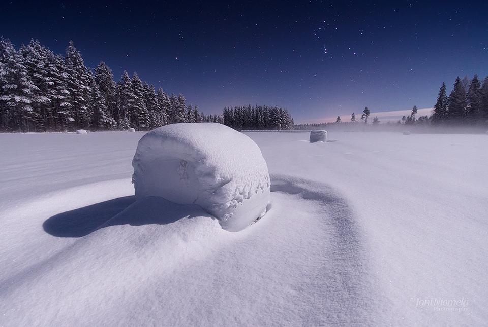 Snowy Haybale